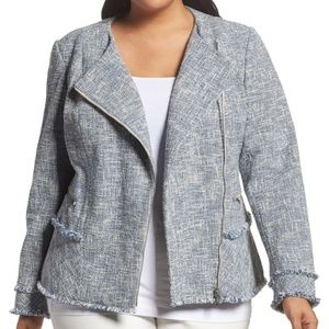 Lafayette 148 Blue Tweed Fringe Jacket